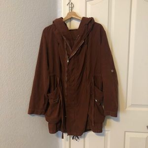 Free People Brown Double Zipper Hooded Coat Small